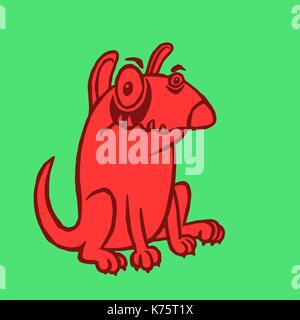 Cartoon red dog. Funny cartoon fur cool character bull terrier. Contour freehand digital drawing cute dog. Green - Stock Photo