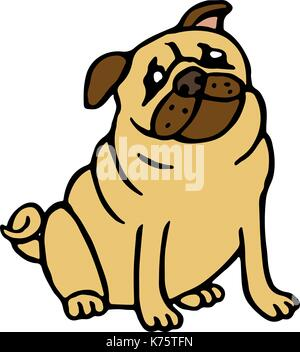 Pug friendly dog. Vector illustration. Funny cartoon fur character. Contour freehand digital drawing cute pet. - Stock Photo