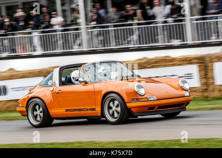 1990 Porsche 911 Targa by Singer Vehicle Design at the 2017 Goodwood Festival of Speed, Sussex, UK. - Stock Photo