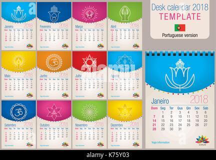Useful Desk Calendar 2018 Colorful Template With Yoga And Reiki