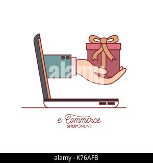 laptop with hand holding a gift side view e-commerce shop online on white background - Stock Photo