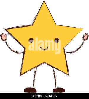 star kawaii caricature in blurred color silhouette - Stock Photo