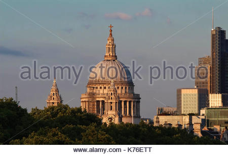 The view of the dome of Saint Paul's Cathedral, City of London. - Stock Photo