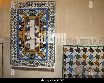 Palacios Nazaries, Alhambra Palace, Granada, Andalusia, Spain, Europe - Stock Photo