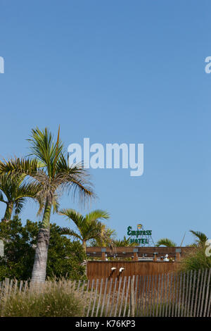 ASBURY PARK, NEW JERSEY - September 10, 2017: A view of the Empress Hotel sign in the distance at the end of summer - Stock Photo