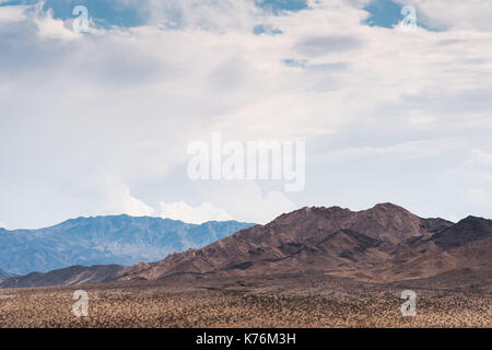 General view of the Mojave Desert, between Baker, California, and the Armagosa Valley, Nevada - Stock Photo