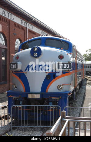 1951 MARC #7100  F7A deisel-electric locomotive on display at the B&O Railroad Museum, Baltimore, Maryland, USA. - Stock Photo