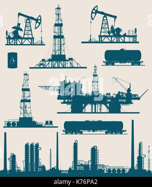 Oil and gas industry set - Stock Photo