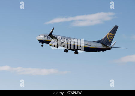 Ryanair Boeing 737 taking off from Bristol Airport - Stock Photo