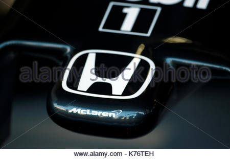 File photo dated 03-07-2015 of McLaren Honda logo during practice day. - Stock Photo