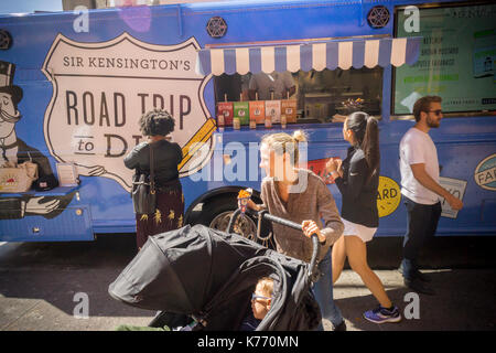 A Sir Kensington's condiments 'Road Trip to Dip' branding event in New York on Saturday, September 9, 2017. Unilever - Stock Photo