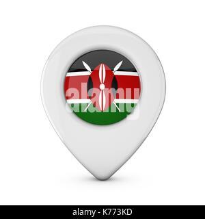 Kenya flag location marker icon. 3D Rendering - Stock Photo