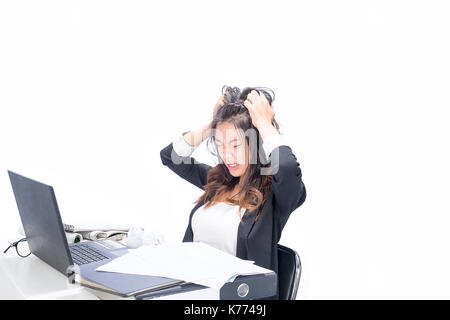 Woman tired of office work. Isolated on white background - Stock Photo