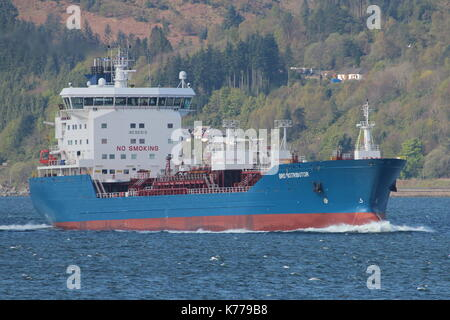 Bro Distributor, an oil or chemical tanker operated by Brostrom, passing Gourock on its way up the Firth of Clyde. - Stock Photo