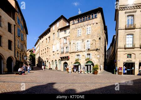 France, Lot, Quercy, Figeac, Champollion square - Stock Photo