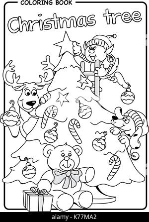 Coloring Book Elf Reindeer And Dog Decorate The Christmas Tree With Stars Bulbs Candy Bars