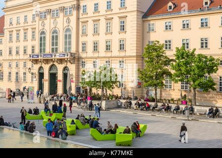 Austria, Vienna, MuseumsQuartier (MQ) located in the former stables of the Imperial Court opened in 2001 is a space - Stock Photo