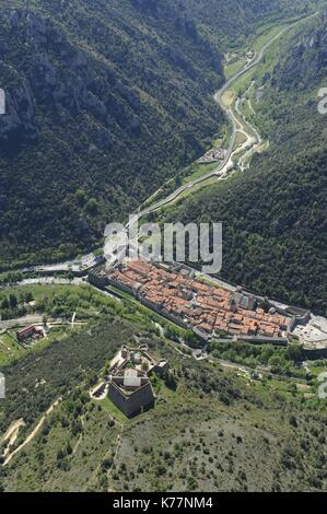France, Pyrenees Orientales, Villefranche de Conflent, labeled The Most Beautiful Villages of France, medieval city - Stock Photo