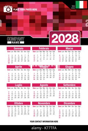 Useful wall calendar 2028 with design of red colors mosaic. Format A4 vertical. Size: 210mm x 297mm. Italian version - Stock Photo