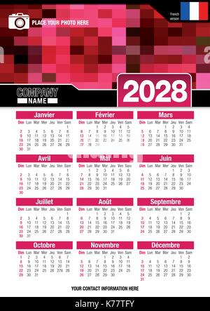 Useful wall calendar 2028 with design of red colors mosaic. Format A4 vertical. Size: 210mm x 297mm. French version - Stock Photo