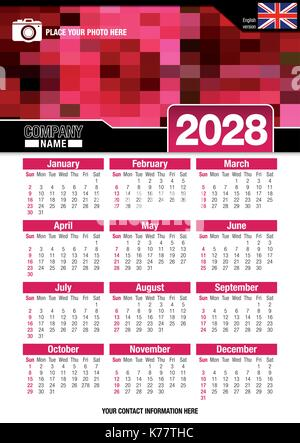 Useful wall calendar 2028 with design of red colors mosaic. Format A4 vertical. Size: 210mm x 297mm. English version - Stock Photo