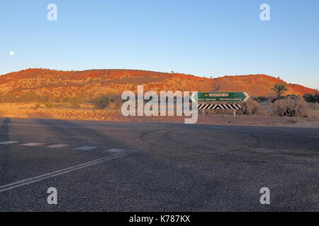 Road sign at Larapinta drive, west MacDonnell ranges near Alice Springs, Northern Territory, Australia 2017 - Stock Photo
