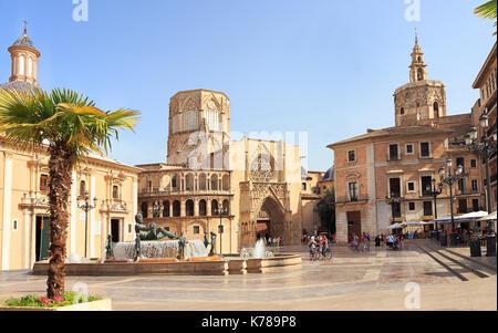 Plaza de la Virgen in Valencia - Stock Photo