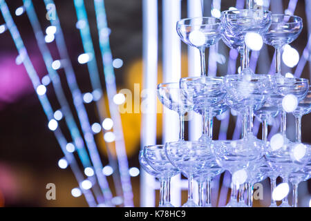 Champagne glass placed in the wedding floor. - Stock Photo