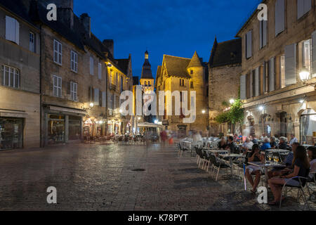 Dusk view of the old town in Sarlat in the Dordogne region of southwest France. - Stock Photo