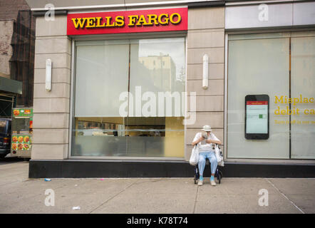 A branch of Wells Fargo in the Chelsea neighborhood in New York on Tuesday, September 12, 2017. Wells Fargo CEO - Stock Photo