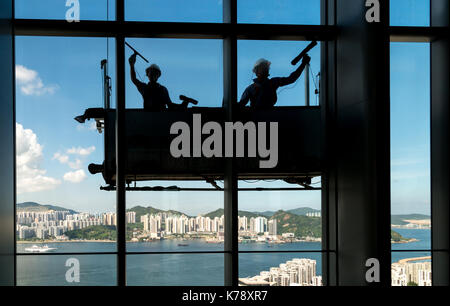 High rise window cleaning at Taikoo,Hong Kong. Jayne Russell/Alamy Stock Photo - Stock Photo