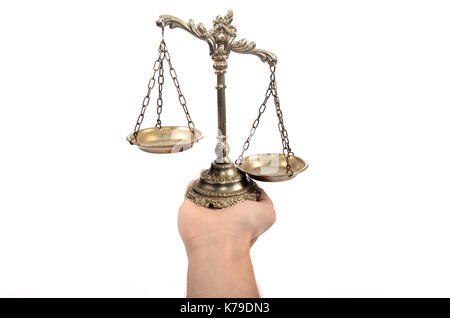 Holding Decorative Scales of Justice,  isolated, law and justice concept - Stock Photo