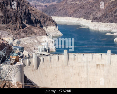 Boulder City, NV - 27 July 2016: The concrete wall of the Hoover Dam, major hydroelecric power plant and water storage - Stock Photo