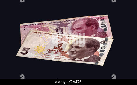 Turkish bank notes on a black background. - Stock Photo
