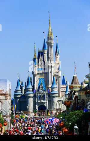 Fairytale palace in Walt Disney Magis Kingdom theme park, Orlando Florida, USA - Stock Photo