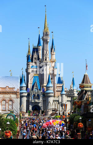 Walt Disney's Magic Kingdom theme park, showing the fairytale castle, Orlando, Florida, USA - Stock Photo