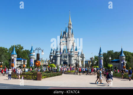 Walt Disney's Magic Kingdom theme park, showing the fairy tale castle, Orlando, Florida, USA - Stock Photo