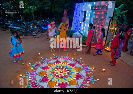 AUROVILLE, INDIA: Celebration of Diwali, the indian Festival of Lights - Stock Photo