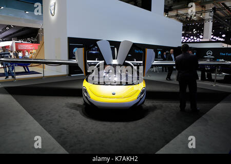 Frankfurt, Germany. 14th September 2017. AeroMobil presents its readable aircraft at the 67. IAA. The 67. Internationale - Stock Photo