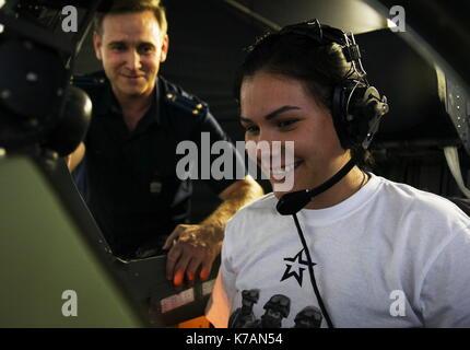 Krasnodar, Russia. 15th Sep, 2017. An applicant in flight simulator training at the Krasnodar Aviation Military - Stock Photo