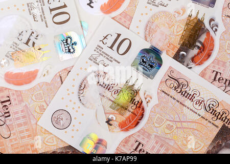 UK. 15th Sep, 2017. The new polymer ten, £10 pound note released into circulation on 14th September 2017. The note, - Stock Photo