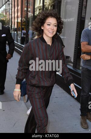 New York, NY, USA. 15th Sep, 2017. Tatiana Maslany, out promoting her new film STRONGER out and about for Celebrity - Stock Photo