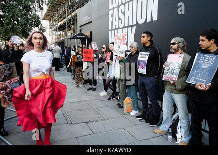 London, UK. 15th September 2017  Animal rights activists protest outside the venue for London Fashion Week at the - Stock Photo