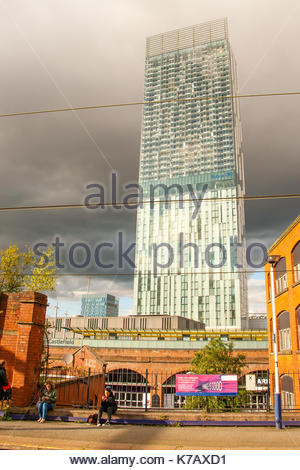 Beetham Tower Hilton Hotel the skyscraper in Manchester, surrounded by heavy cloud, photo taken from Deansgate Train - Stock Photo
