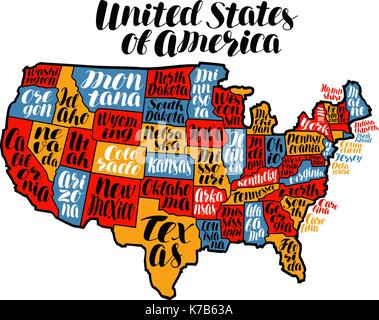 Usa Map Country United States Of America Lettering Vector Ilration Stock Photo