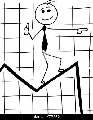 Cartoon stick man conceptual illustration of smiling business man businessman walking on graph chart line expecting - Stock Photo