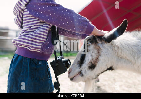 Midsection of girl petting goat - Stock Photo