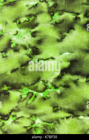 Light and dark stained green abstract cloudy pattern from an aged retro paperback as a grunge background image - Stock Photo