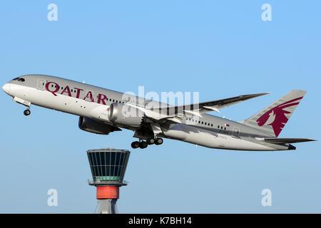 Qatar Airways Boeing 787 Dreamliner Departure out of London's Heathrow Airport England,UK - Stock Photo
