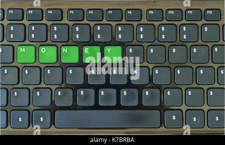 Computer Keyboard with dolar symbol and 'money' letters only - Stock Photo